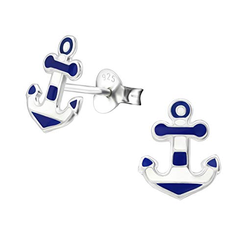 Navy & White Anchor Nautical Sterling Silver Stud Earrings