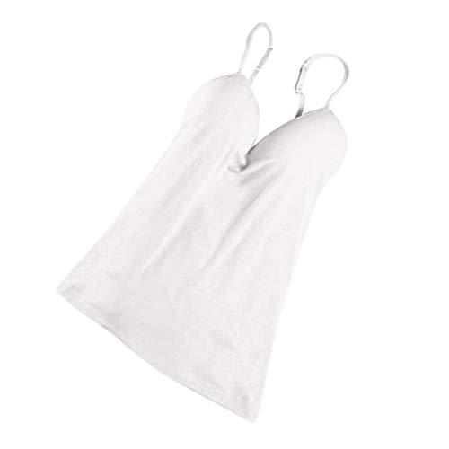 kowaku Correa Ajustable Sujetador Incorporado Camisetas Sin Mangas Acolchadas Chaleco de Camisola para Mujeres Niñas - Blanco, L