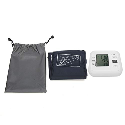 Misuratore di pressione sanguigna, macchina per la pressione sanguigna del braccio superiore digitale LCD Premium con custodia per uso domestico(#2-bianca)