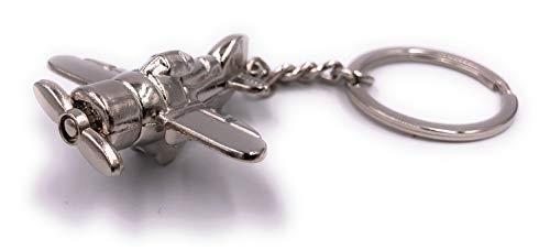 H-Customs Propeller Flugzeug Flieger Schlüsselanhänger Anhänger Silber aus Metall