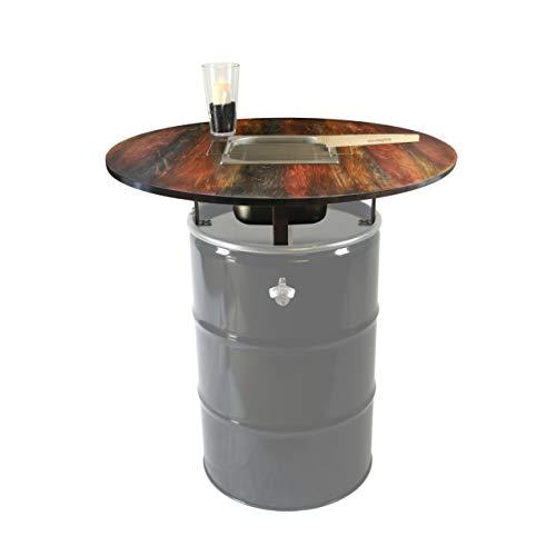 Rogge´s RelaxGrill Grilltischaufsatz Dye für 200L Ölfass mit integriertem Edelstahlgrill – Stehtisch Oelfass Blechfass Öl Tonne Fass Feuertonne Weinfass