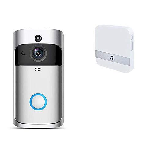 Draadloze bel, draadloos, HD-video 720P met camera, bel, telefoon, intercominstallatie, monitor en PIR Motion Sensor, nachtzicht, compatibel met Android iOS, Chime + 1