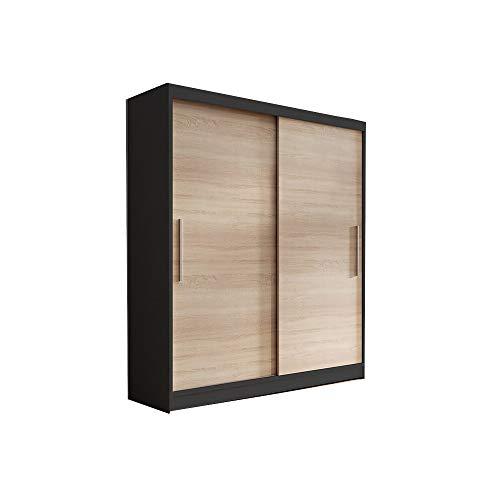 E-MEUBLES Armoire de Chambre avec 2 Portes coulissantes   Penderie (Tringle) avec étagères (LxHxP): 150x200x61 LARA 04 (Noir+Sonoma)