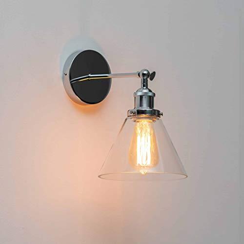 KOSILUM - Applique industrielle chrome et verre - Dallas - Lumière Blanc Chaud Eclairage Salon Chambre Cuisine Couloir - 1 x 40 W - - E27 - IP20