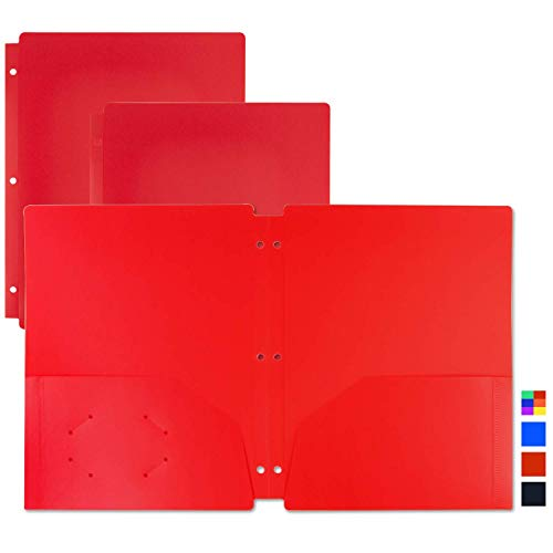 Dunwell Red Folders with Pockets – Plastic, 3-Hole (3-Pack of Folders), 2-Pocket Folder with 3 Holes for 3 Ring Binder, Use as Folders for Kids School Work, Red Folders with Pockets 3-Hole Punched