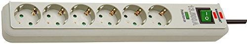Brennenstuhl Eco-Line, Steckdosenleiste 6-fach mit Überspannungsschutz (Steckerleiste mit erhöhtem Berührungsschutz, Schalter und 1,5m Kabel) PC-Grau
