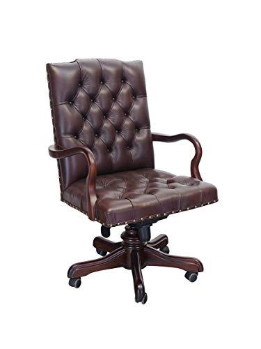 Antike Fundgrube Bürostuhl aus Massivholz mit braunes Echt-Leder | Chefsessel Bürosessel Polstersessel | dunkelbrauner Nussbaum-Farbton (6377)
