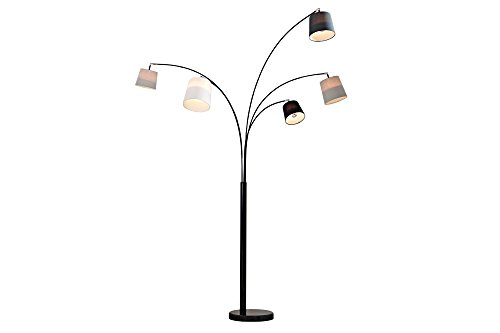 DuNord Design Bogenlampe Stehlampe weiß schwarz grau Marmor 200cm Design Spot Lampe ALICANTE