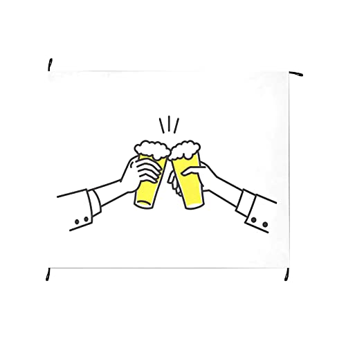 Beer Drink Agreed Deal Cheers Pinic Blanket Outdoor 69x55 Inch Outdoor Picnic Portable Picnic Blanket for Camping Hiking Grass Travelling