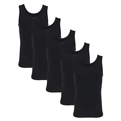 TupTam Kinder Jungen Unterhemd Ärmellos Tanktop 5er Pack, Farbe: Schwarz, Größe: 104-110