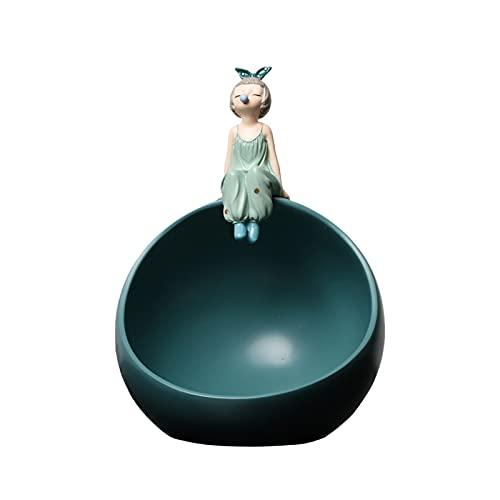 KLFD Modern Bubble Girl Figurine Scatola Portaoggetti Palla Rotonda Resina Caramella Vassoio Portaoggetti da Tavolo Porta Gioielli Domestico Mettere Scatola Portaoggetti Display Ornamenti,Verde