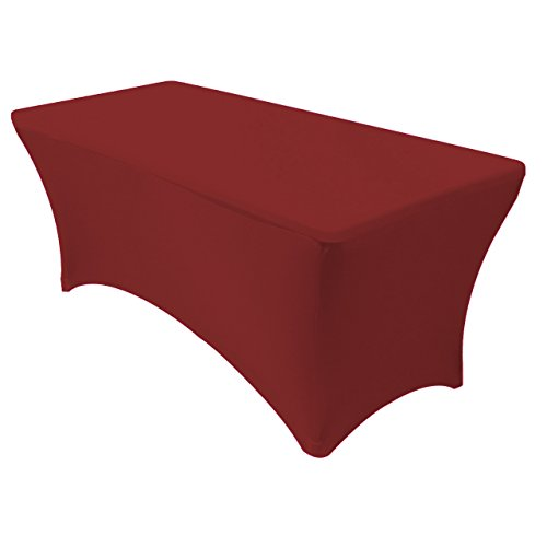 "Your Chair Covers - Stretch Spandex Table Cover for 6 Ft Rectangular Tables, 72"" Length x 30"" Width x 30"" Height Fitted Tablecloth for Standard Folding Tables - Burgundy"