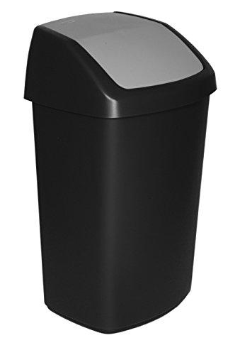 CURVER Abfalleimer Swing-Top 50l in schwarz/grau, Plastik, 35 x 25 x 10 cm