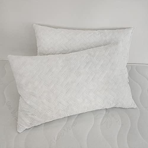 Coppia Cuscini alta 17 cm misura 40x70, in fiocco di Memory - aiuta la corretta postura, tessuto traspirante (2)