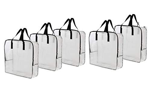 Earthwise - Bolsa de almacenamiento transparente extra grande para almacenamiento de ropa, decoración de Navidad, organizador de clóset, bolsa de ahorro de espacio para ropa de...