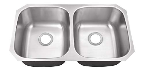 Soleil SS5050 32-1/4-in x 18-1/2-in 18-Gauge Stainless Steel 50/50 Double Bowl Undermount Kitchen Sink
