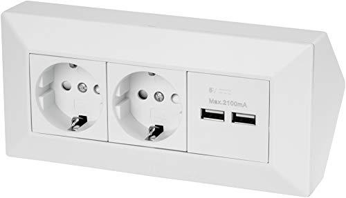 Regleta de 2 enchufes con 2 enchufes y 2 puertos de carga USB, 230 V, 3600 W, color blanco mate