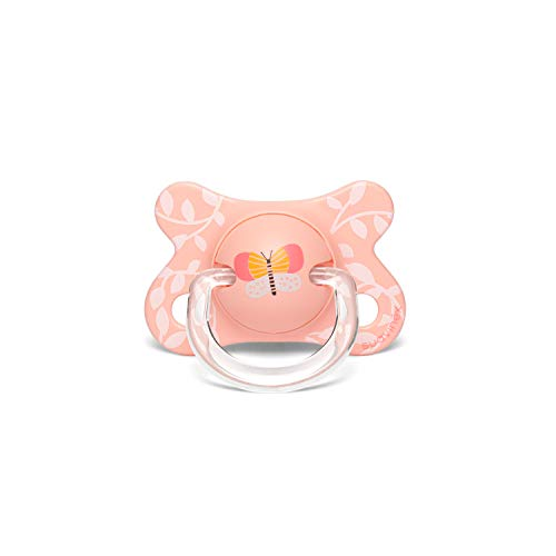 Suavinex - Chupete para bebés -2/4 meses. con tetina anatómica de silicona. color mariposas rosa