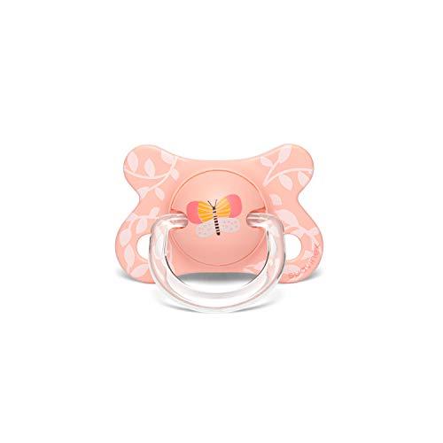 Suavinex - Chupete para bebés -2/4 meses. con tetina fisiológica de látex. color mariposas rosa