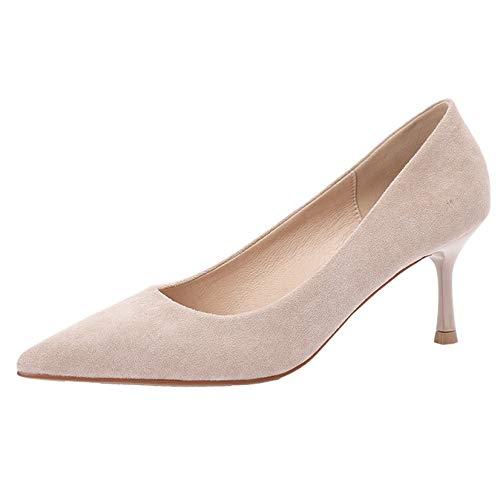 Zapatos de tacón Alto con Punta Estrecha para Mujer Tacones Finos Elegantes Zapatos de Corte de Primavera y otoño Zapatos sin Cordones Vestido Elegante Zapatos de Noche con Punta Cerrada