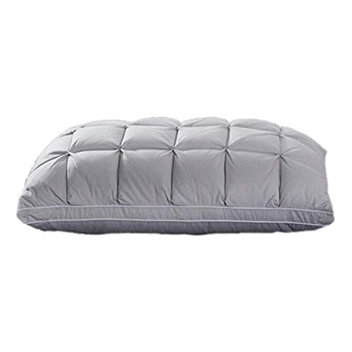 HMMHHE Almohada de la cama con almohada de Gugusure Premium con llenado 95% Blanco Ganso Down (1 paquete) 120S Cubierta anti-taladradora de satén suave con pliegues de peluche Diseño de flores torcida