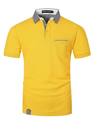 GHYUGR Poloshirt Herren Kurzarm Golf T-Shirt Klassische Karierte Spleiß Polohemd S-2XL,Gelb,XL