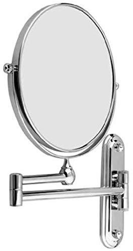 HCMNME 8 Pulgadas Montado en Pared Espejo de Afeitado Que se extiende Plegable Doble Lado cosmético Maquillaje 5xMagnificación Cuarto de baño Maquillaje Espejo