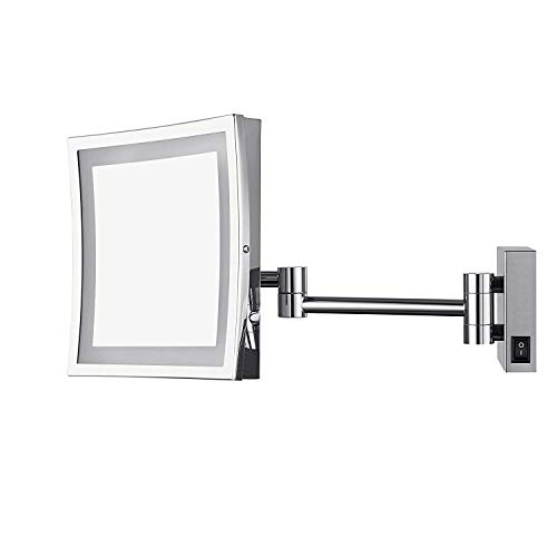 Aechoo, specchio da parete, da trucco o da barba. Specchio per bagno in hotel di lusso con luce LED per toeletta. Con superficie regolabile e allungabile, di forma quadrata con lati di 21,6cm, ingrandimento 5x, finitura cromata