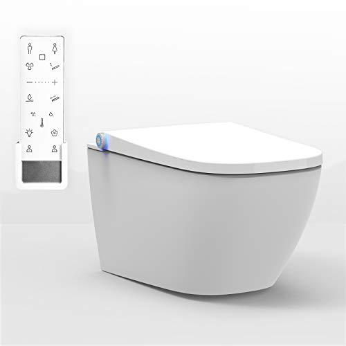 BERNSTEIN DUSCH-WC PRO+ 1104 in Weiß - Spülrandloses Dusch-WC eckig - Komplettanlage