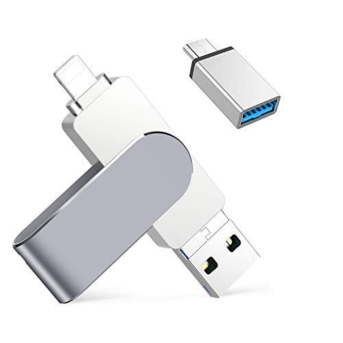 128GB Chiavetta USB per iPhone iPad Memoria USB 4 in 1 Memory Stick 3.0 Pen Drive per iOS Samsung HUAWEI OTG Android Smartphone Tablet PC Macbook Tipo C Porta (Argento)