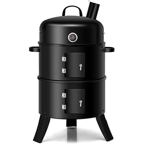 Giantex 3-in-1 Charcoal BBQ Smoker, Round Grill Cooker with Built in Thermometer and Hangers for Outdoor Cooking Grilling (Black)