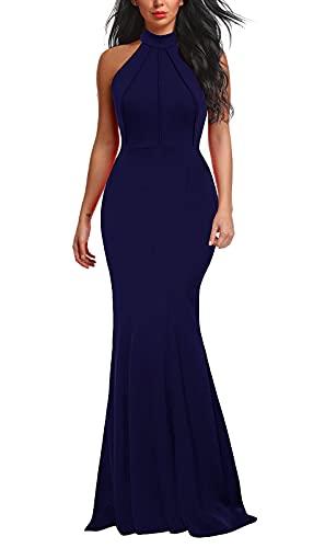 Berydress Women's Vintage Sleeveless Halter Long Mermaid Evening Dress (XL, 6075-Navy)