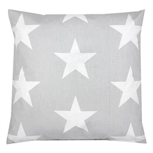 TupTam Kissenhülle Dekorativ Gemustert, Farbe: Grau Große Weiße Sterne, Größe: 40 x 40 cm
