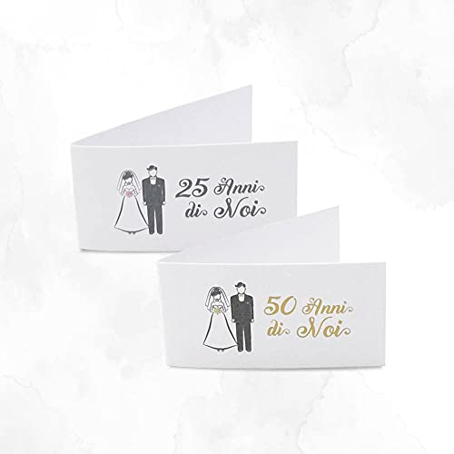 Bigliettini Anniversario di Matrimonio personalizzati mod. 25/50 Anni Insieme con Nome e Data - in set da 20, 50, 100, pezzi - Kamiustore (50 bigliettini)