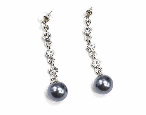 BO94-pendientes colgantes cuando diseño de brillantes, color plata y perla moda con diseño de fantasía, color gris