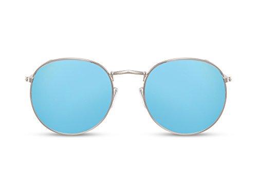 Cheapass Gafas de Sol Lentes Redondas con Espejos Azules UV400 Vintage Montura Metálica Hombre Mujer