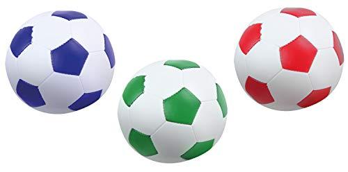Lena 62163 Soft-Fußbälle 3er Set, Sportsoftbälle weiß mit blau, grün oder rot, 3 Softbälle je 10 cm, Softfußbälle für Drinnen und Draußen, weiche Sportbälle, Spielbälle für Kinder ab 12m
