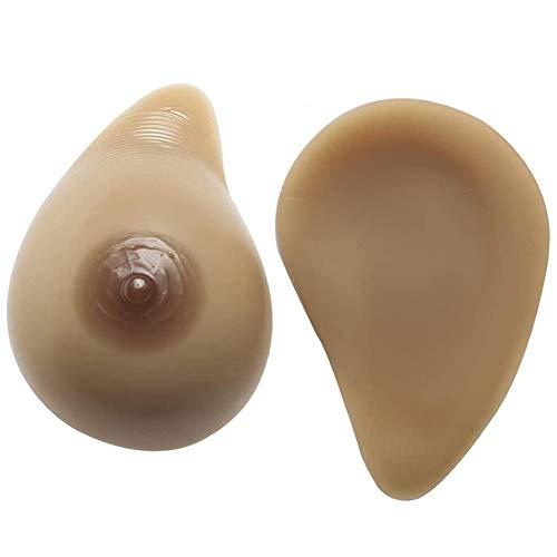 DHGC 1 Paar Silikonbrüste in Wassertropfenform Falsche Brüste künstliche Brüste Lebensechte Brustwarze für Crossdresser Transgender Mastektomie Cosplay,A~Cup(500g/pair)