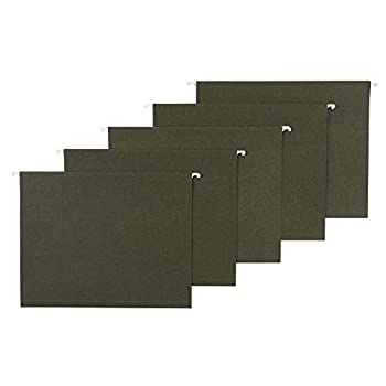 Amazon Basics Recycled Hanging Folders Letter Size Standard Green No Tabs 25-Pack