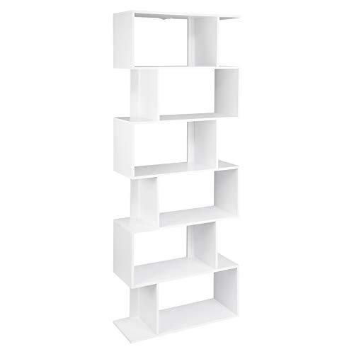 WOLTU SK012ws Bibliothèque étagère de Rangement avec 6 Compartiments,étagère Stockage étagère de Bureau classeur en MDF 60x23,5x160cm,Blanc