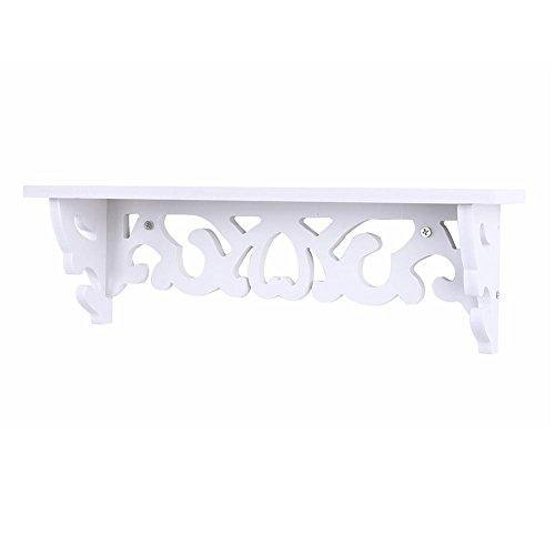 Yosoo - Estantería de pared de madera para colgar con tornillos, diseño retro, casa de campo, color blanco