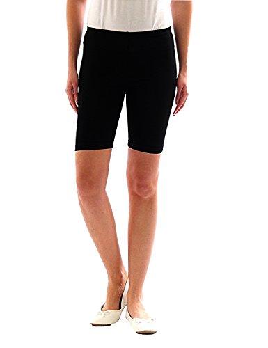 yeset Damen Sport Shorts Hotpants Sportshorts Radler Kurze Leggings Baumwolle schwarz L