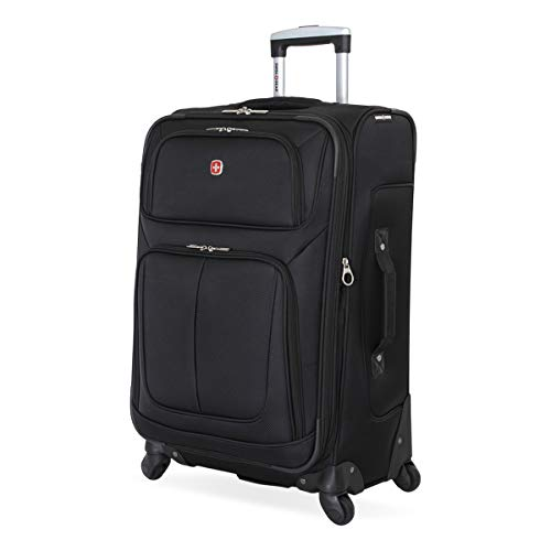 SwissGear Sion Softside Luggage with Spinner Wheels, Black, Checked-Medium 25-Inch