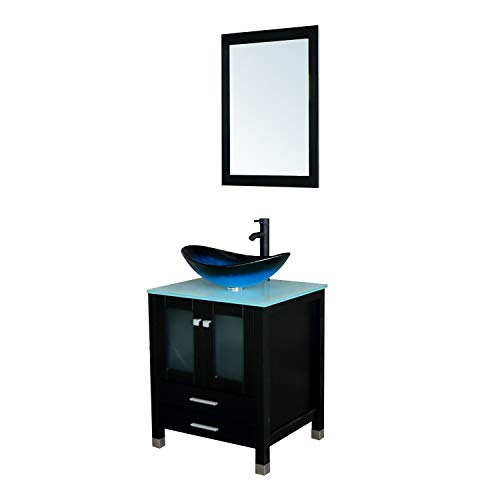 BATHJOY 24'' Modern Wood Bathroom Vanity Cabinet Oval Tempered Glass Vessel Sink Faucet Drain Combo Design with Mirror