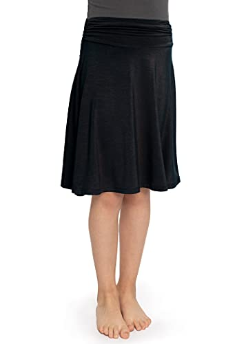 Stretch is Comfort Girl's, Women's and Plus Size Knee Length Flowy Skirt - Black - X-Large