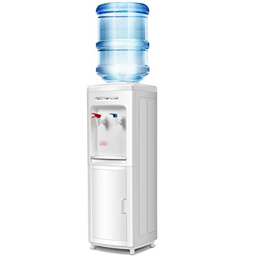 Giantex Top Loading Water Cooler Dispenser 5 Gallon Normal Temperature Water and Hot Bottle Load Electric Primo Home with Storage Cabinet, White