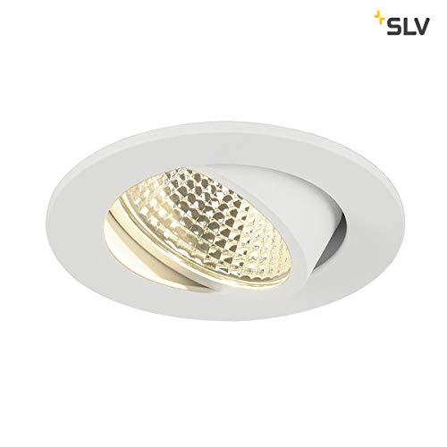 SLV LED Deckeneinbaustrahler NEW TRIA 68 I Einbauleuchte, Deckenleuchte, rund, single, CS, COB, Clipfedern, Aluminium, weiß, schwenkbare Deckeneinbauleuchte, Indoor