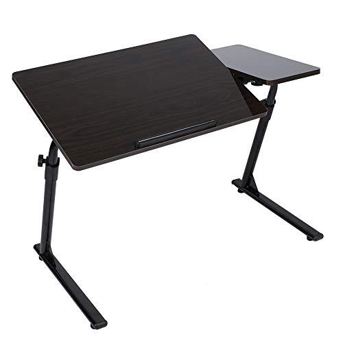 Dioche Mesa plegable para desayuno, en forma de Z, para dormitorio, sala de estar, altura ajustable: 50 - 75,8 cm (nogal negro)