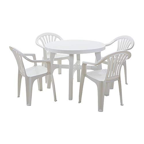 ガーデンチェア ガーデンテーブル 5点セット ガーデンセット ポリプロピレン製 PP ホワイト ガーデンテーブル&チェアー4脚 軽量で持ち運び簡単 ガーデンファニチャー ガーデン テーブル セット ガーデンテーブルセット キャンプチェア アウトドア プラス