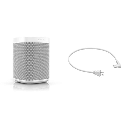 Sonos One (Gen 2) - Voice Controlled Smart Speaker with Amazon Alexa Built-in (White) and 19.7in (.5m) Power Cable for One and Play:1 (White)